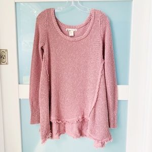Anthro Kaisley pink sharkbite Sweater